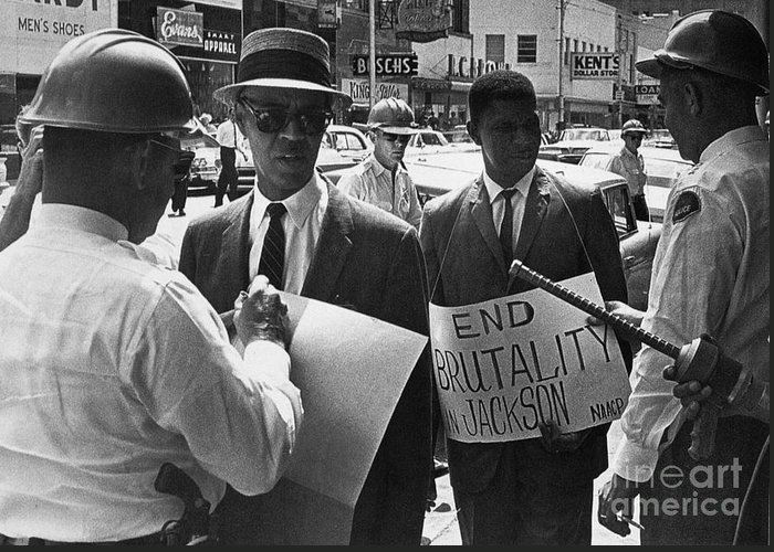 1963 Greeting Card featuring the photograph Woolworths Protest, 1963 by Granger