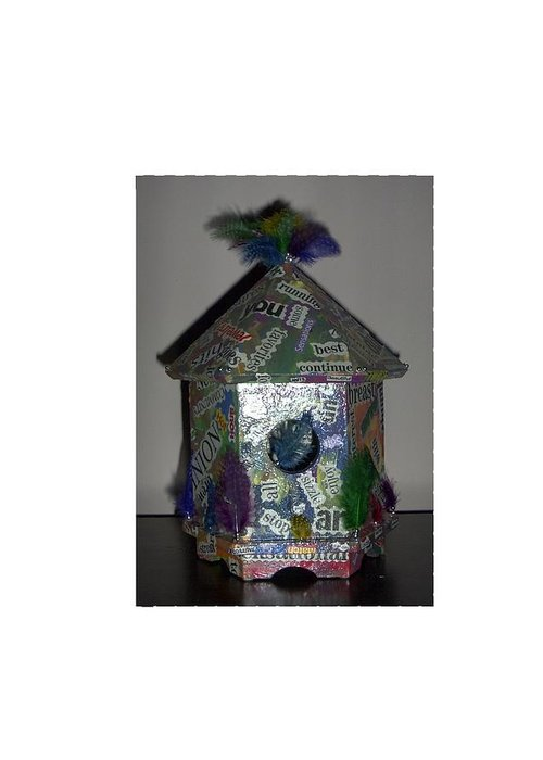 Bird House Pun Greeting Card featuring the painting Wordhouse by Sally Van Driest
