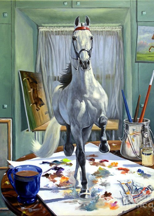 American Saddlebred Art Greeting Card featuring the painting Work In Progress V by Jeanne Newton Schoborg