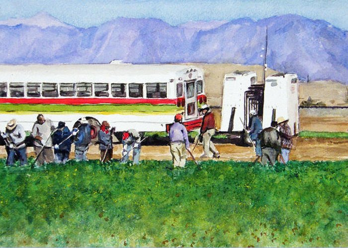 Mexico Greeting Card featuring the painting Workers by Debra Jones