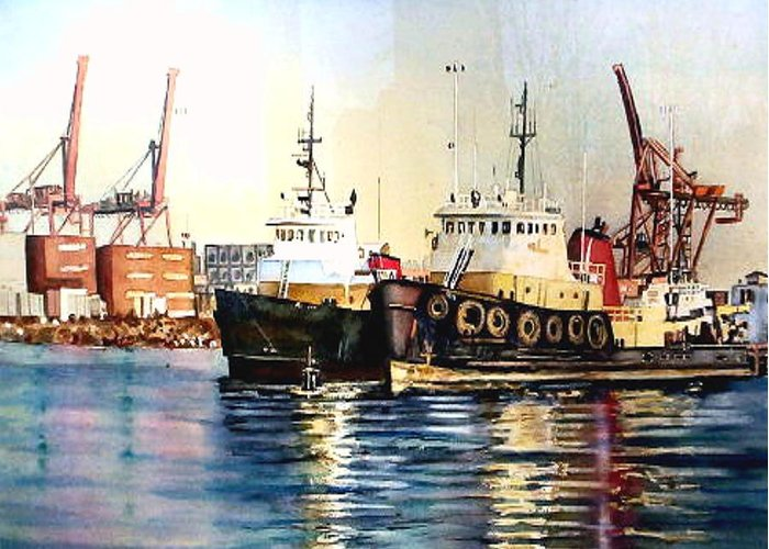 Nautical Greeting Card featuring the painting Working Boats -seattle by June Conte Pryor