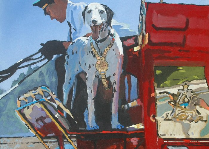 Dog Greeting Card featuring the painting Working Dog by Robert Bissett