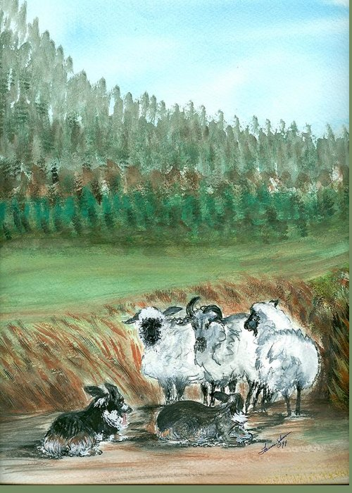Dogs And Sheep Greeting Card featuring the painting Working Girls by Laura Johnson