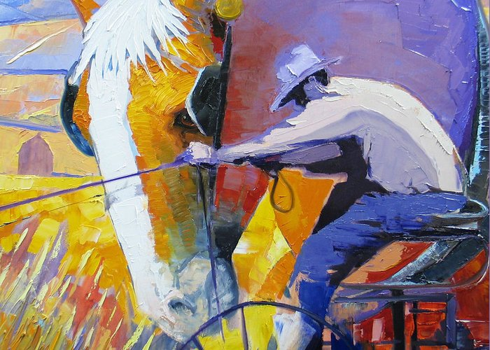 Horse Greeting Card featuring the painting Working The Land by Gregg Caudell