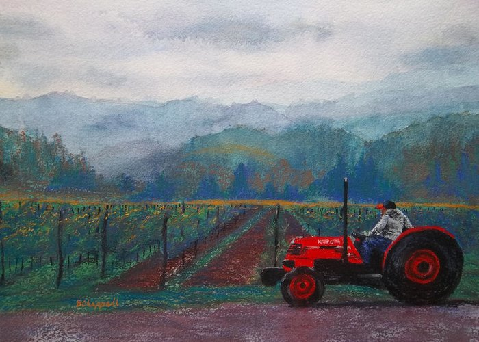Vineyard Greeting Card featuring the painting Working The Vineyard by Becky Chappell