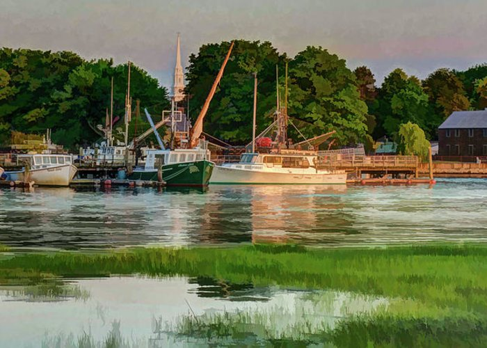 New England Greeting Card featuring the photograph Working Waterfront by Dave Thompsen