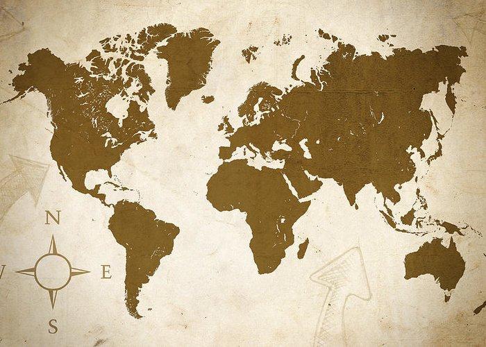 Map Greeting Card featuring the digital art World Grunge by Ricky Barnard