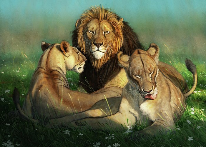 Lions Greeting Card featuring the digital art World Lion Day by Aaron Blaise