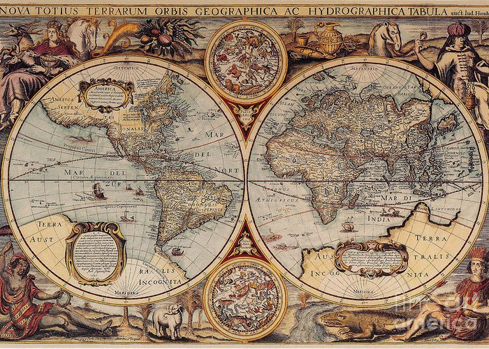 Ancient world map art fine art america ancient world map greeting cards gumiabroncs Images