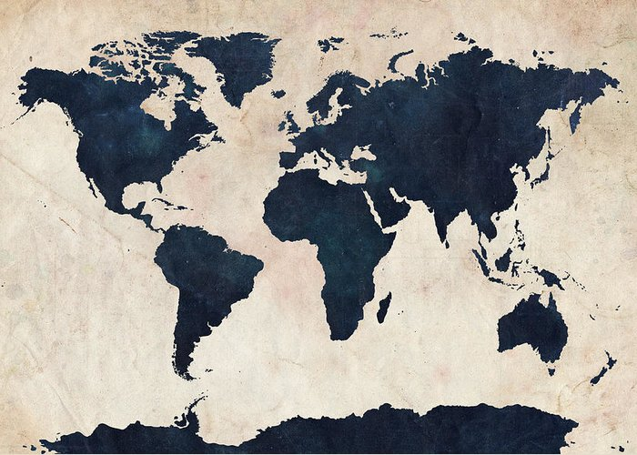 Map Of The World Greeting Card featuring the digital art World Map Distressed Navy by Michael Tompsett