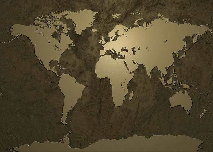 world Map Greeting Card featuring the digital art World Map Gold by Michael Tompsett