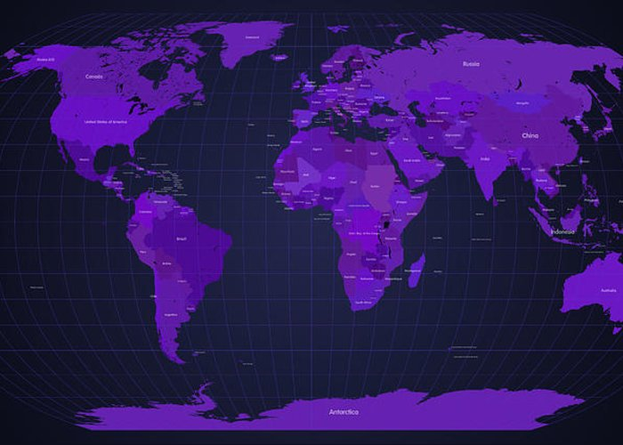 Map Greeting Card featuring the digital art World Map In Purple by Michael Tompsett