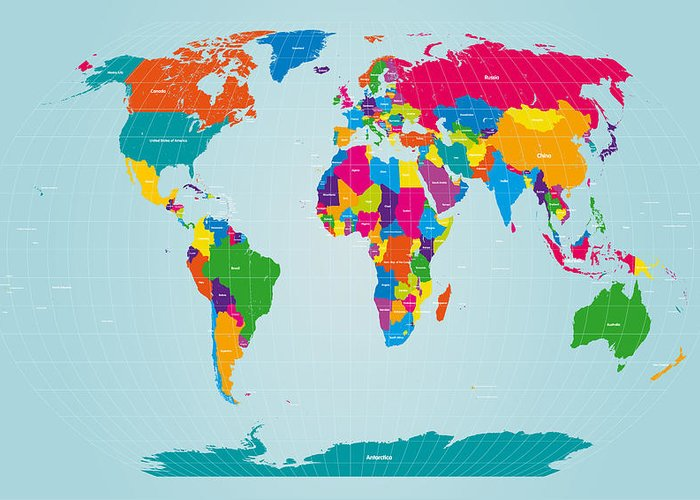 Map Of The World Greeting Card featuring the digital art World Map by Michael Tompsett