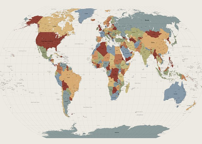 Countries Of The World Greeting Cards