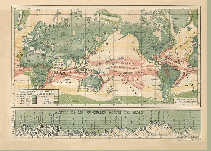 World Map With Currents.World Map Ocean Currents Greeting Card For Sale By Carambas Vintage