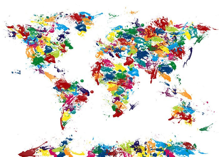 Map Of The World Greeting Card featuring the digital art World Map Paint Drops by Michael Tompsett