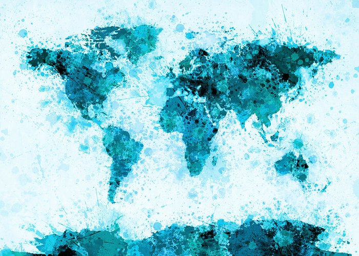 Map Of The World Greeting Card featuring the digital art World Map Paint Splashes Blue by Michael Tompsett