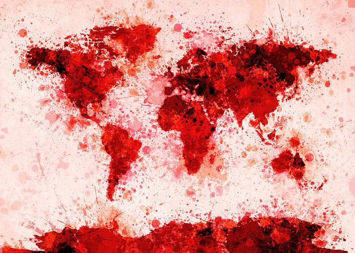 Map Of The World Greeting Card featuring the digital art World Map Paint Splashes Red by Michael Tompsett