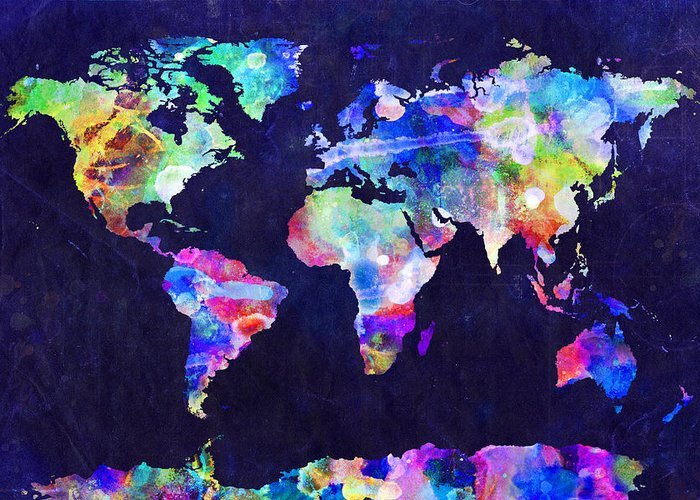 Map Of The World Greeting Card featuring the digital art World Map Urban Watercolor by Michael Tompsett