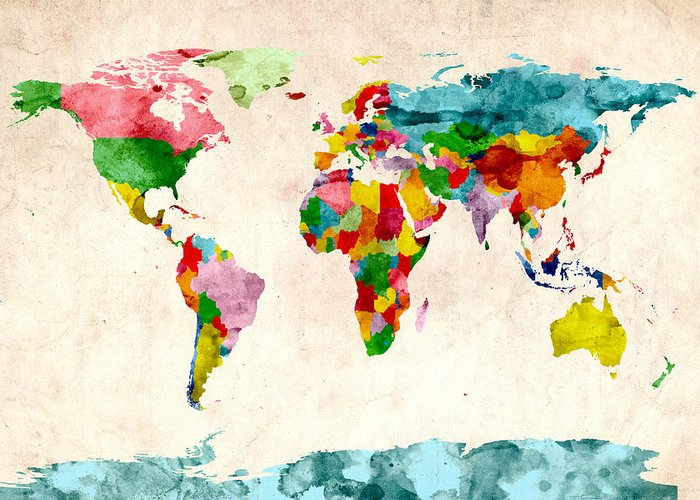 World Map Greeting Card featuring the digital art World Map Watercolors by Michael Tompsett