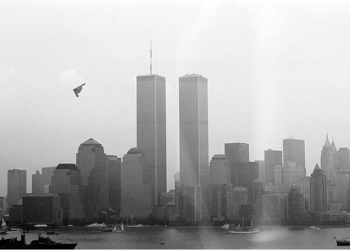 New Greeting Card featuring the photograph World Trade Center And Opsail 2000 July 4th Photo 18 B2 Stealth Bomber by Sean Gautreaux