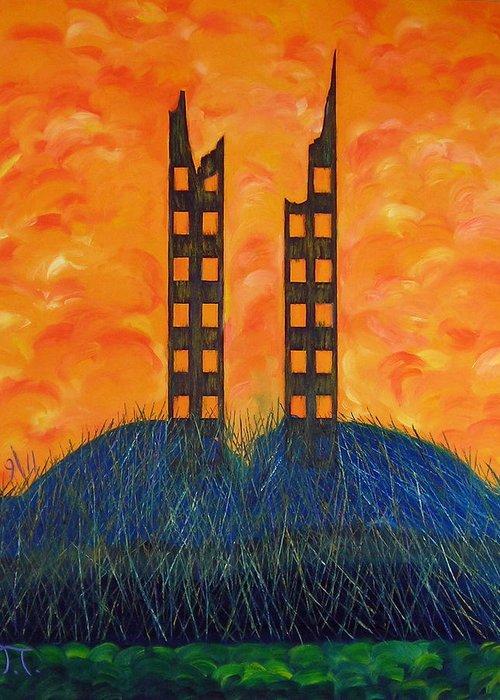 Grassy Knoll World Trade Towers Greeting Card featuring the painting World Trade Towers by Troy Thomas