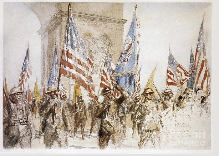 1919 Greeting Card featuring the photograph World War I: Victory Parade by Granger