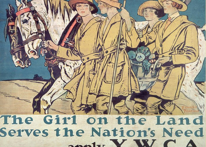 Vintage Poster Greeting Card featuring the painting World War I Ywca Poster by Edward Penfield