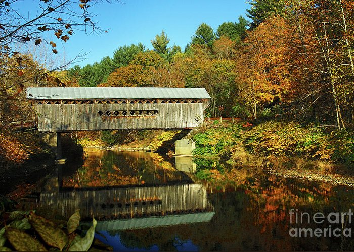 New England Fall Greeting Card featuring the photograph Worrall's Bridge Vermont - New England Fall Landscape Covered Bridge by Jon Holiday