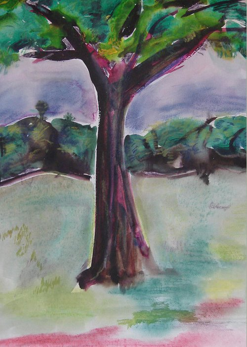 Tree Greeting Card featuring the painting Wounded Tree by Rima Bidkar