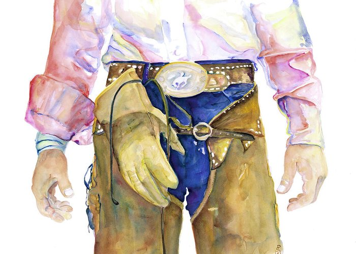 Cowboy Painting Greeting Card featuring the painting Wrangler by Pat Saunders-White