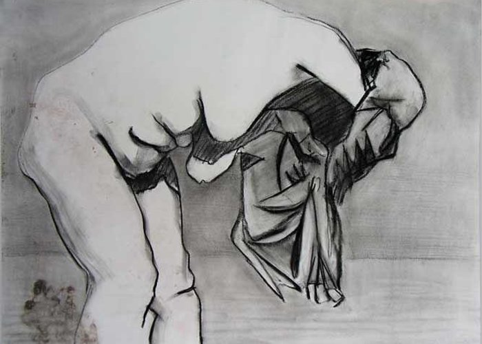 Figure Greeting Card featuring the drawing Wrapped Up by Brad Wilson