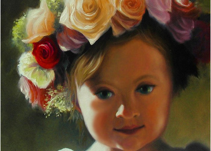 Wreath Greeting Card featuring the painting Wreath Of Roses by Stephen Lucas