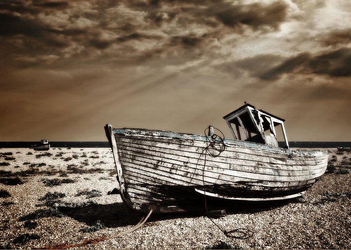 Boat Greeting Card featuring the photograph Wrecked by Meirion Matthias