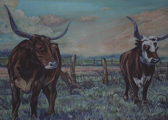 Animals Greeting Card featuring the painting Wright Longhorns by Diann Baggett