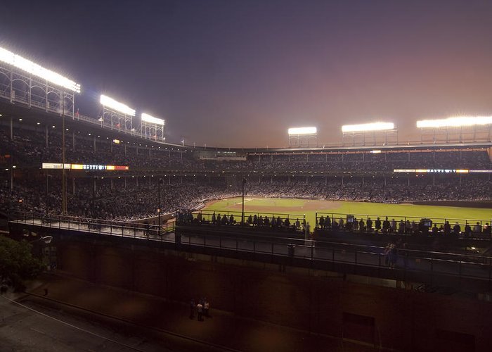 Cubs Greeting Card featuring the photograph Wrigley Field At Dusk 2 by Sven Brogren