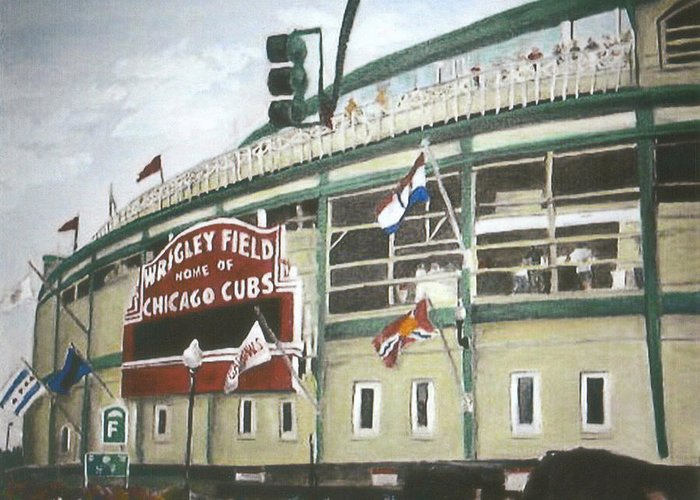 Wrigley Field Greeting Card featuring the painting Wrigley Field by Travis Day
