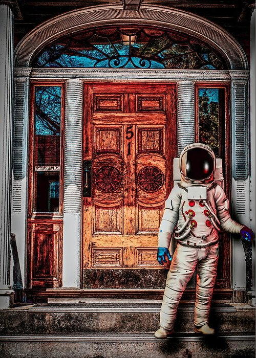 Spaceman Greeting Card featuring the photograph Wrong Address by Bob Orsillo