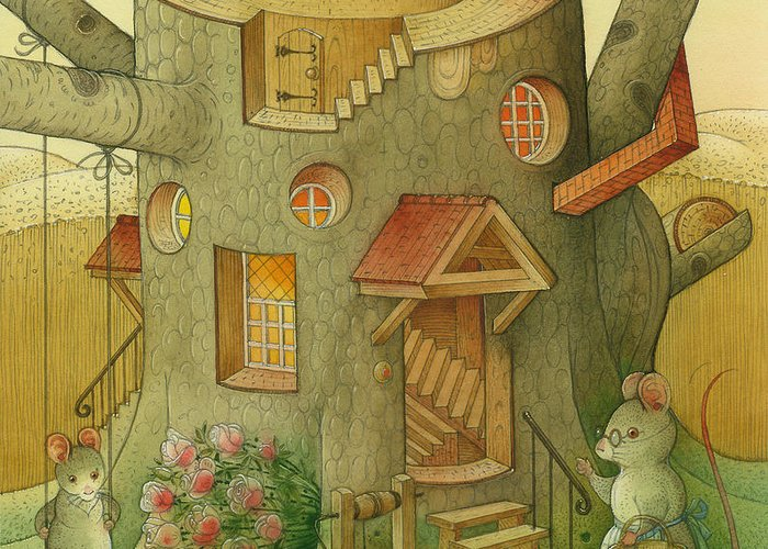 Landscape Mouse Mystique House Tree Greeting Card featuring the painting Wrong World by Kestutis Kasparavicius