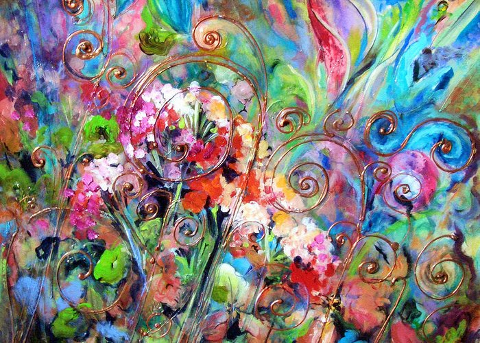 Floral Greeting Card featuring the painting Wrought Iron by Elaine Cory