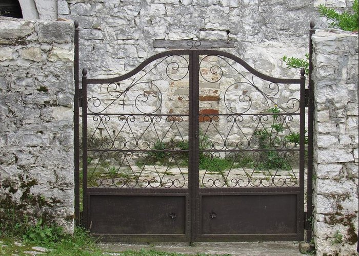 Gate Greeting Card featuring the photograph Wrought Iron Gate by Barbara Ebeling