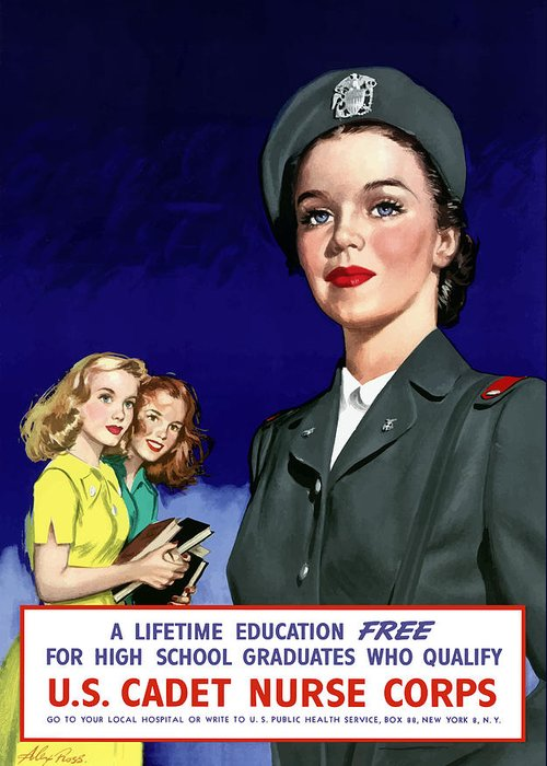 Nursing Greeting Card featuring the painting Ww2 Us Cadet Nurse Corps by War Is Hell Store
