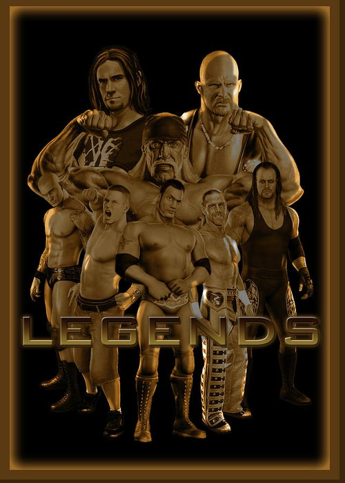 Wwe Greeting Card featuring the digital art Wwe Legends By Gbs by Anibal Diaz