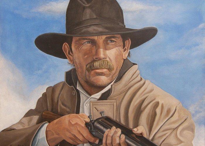 Wyatt Earp Greeting Card featuring the painting Wyatt Earp - Kevin Costner by Kenneth Kelsoe