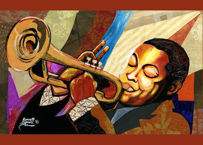 Everett Spruill Greeting Card featuring the painting Wynton Marsalis by Everett Spruill