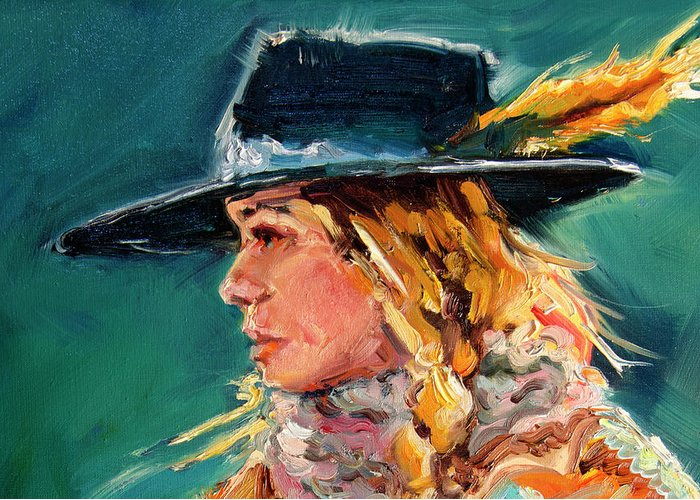 Cowgirl Greeting Card featuring the painting Wyoming Cowgirl Close by Diane Whitehead