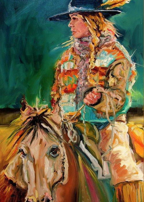 Cowgirl Diane Whitehead Greeting Card featuring the painting Wyoming Cowgirl by Diane Whitehead