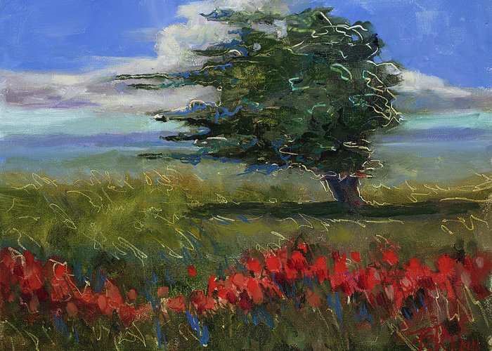 Windy Day Greeting Card featuring the painting Wyoming Gentle Breeze by Billie Colson