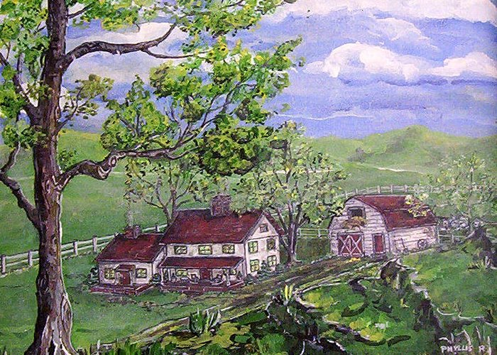 Landscape Greeting Card featuring the painting Wyoming Homestead by Phyllis Mae Richardson Fisher
