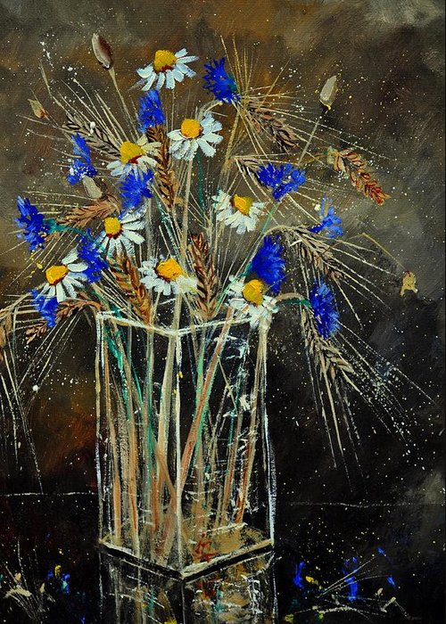 Flowers Greeting Card featuring the painting Xav's Bunch by Pol Ledent